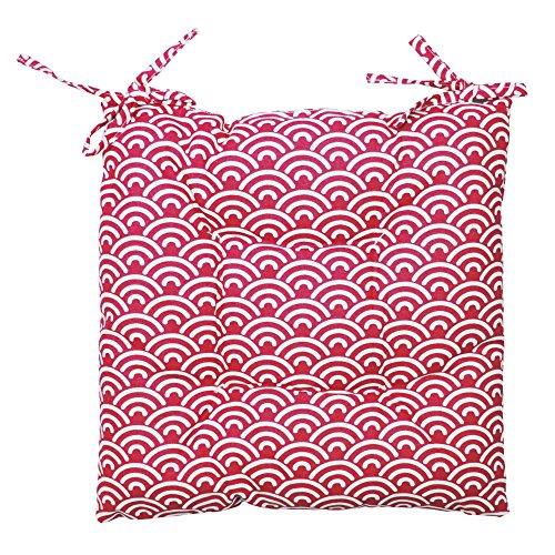 Sitzkissen Stuhlkissen Polster Auflage bequemes Kissen Baumwolle ca. 40x40x3 cm modern gemustert Pink Weiß