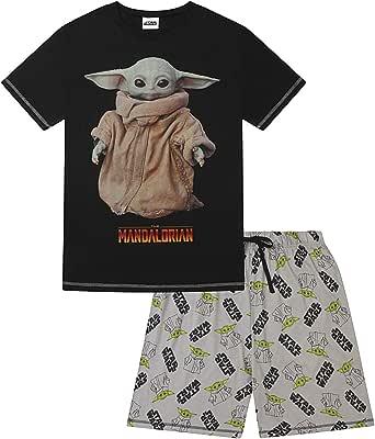 Star Wars Mens Baby Yoda The Mandalorian The Child Portrait Short Cotton Pyjamas