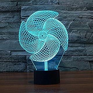 Alisabler 3D Lamp Windmill Night 7 Color Change Best Gift Night Light LED Furnish Desk Table Lighting Home Decoration Toys