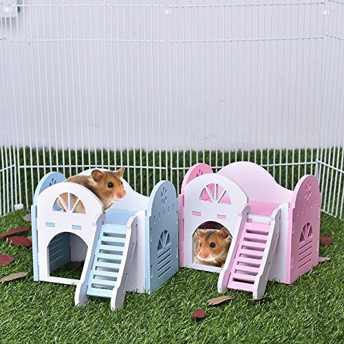 Haustier-Haus Hamster AL-double-deck Tier-Villa klein für das ganze Jahr Hideout Deluxe zwei Schichten umweltfreundlich mit Hut Katzenspielzeug Chews, Outdoor-, ideal für die Condo Wasserdicht, Ratte Maus, Meerschweinchen Eichhörnchen Käfig Kauen Spielzeug (Outdoor-deck Dekor)