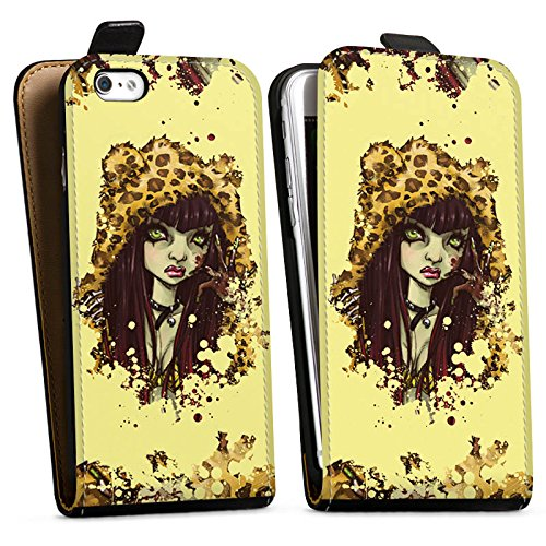 Apple iPhone X Silikon Hülle Case Schutzhülle Comic Leo Mädchen Downflip Tasche schwarz