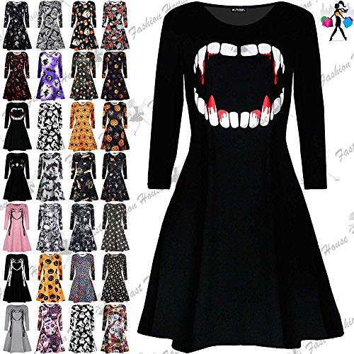Fashion Star Oops Outlet Womens Ladies Long Sleeves Pumpkin Cobweb Bats Skulls Flared Smock Skater Swing Mini Dress Top Plus Size 8-34