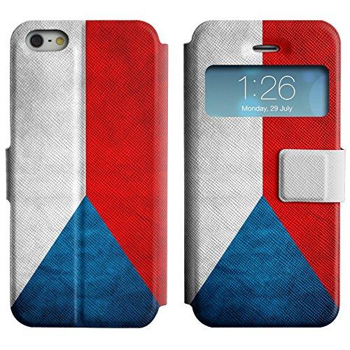 Graphic4You Vintage Uralt Flagge Von Kroatien Kroatisch Design Leder Schützende Display-Klappe Brieftasche Hülle Case Tasche Schutzhülle für Apple iPhone 5 und 5S Tschechische Republik