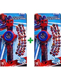 Toy Park Spiderman 32 Image Projector Boy's and Girl's Watches -Combo of 2 Pieces