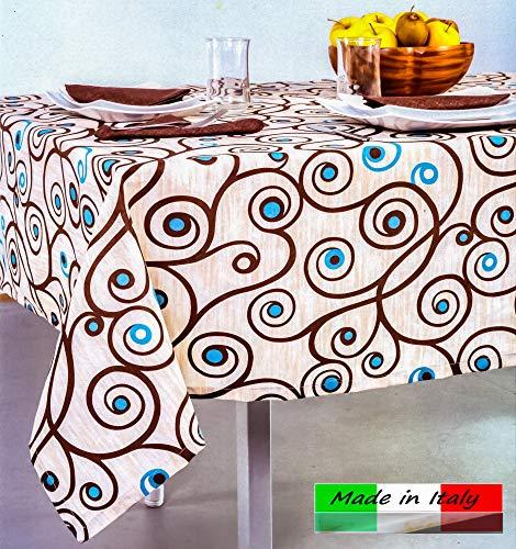 Angelsartory tovaglia copritavolo 140x180cm made in italy moderno design primavera estate tovaglie rettangolare anti stiro cotone poliestere tessuto fantasia da tavolo cucina soggiorno moderne elisa