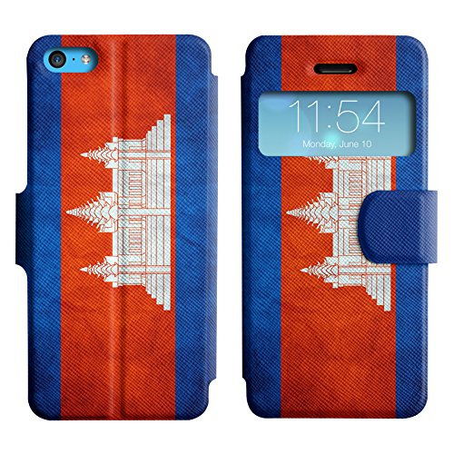 Graphic4You Vintage Uralt Flagge Von Hong Kong Flag Design Leder Schützende Display-Klappe Brieftasche Hülle Case Tasche Schutzhülle für Apple iPhone 5C Kambodscha Kambodschaner
