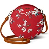 DailyObjects Red Buterflies Orbis Round Sling Crossbody Bag for girls and women | Vegan leather, Stylish, Sturdy, Zip closure
