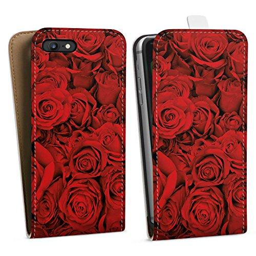 Apple iPhone X Silikon Hülle Case Schutzhülle Rose Rosen Blüten Downflip Tasche weiß