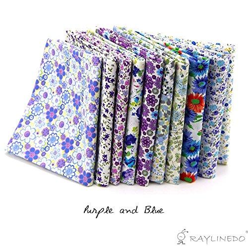 RayLineDo® 10 Stück Verschiedene Muster Multi Color 100% Baumwolle Popelin Stoff Fett Viertel Bündel 18