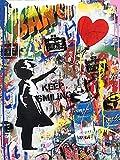 """bellissime stampe artistiche su strada graffiti, immagini astratte, disegni creativi, colori alla moda sulle pareti della città, arredamento contemporaneo per soggiorno, camera da letto 48"""" X 32"""""""