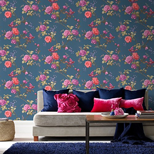 Price comparison product image Fresco Great Value Oriental Blue Floral Wallpaper 50-661