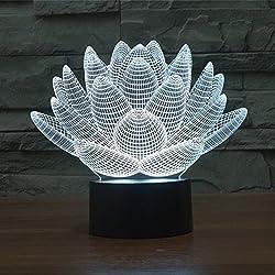 GuDoQi® Flor de Loto 3D USB LED Luz de Noche Colores Cambiando Luces de Navidad Botón Táctil Niños Iluminación de Dormitorio de Vida