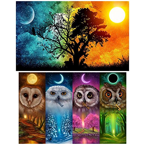 Ccmart Set of 2 DIY Paint By Numbers, Crystal Drill Embroidery 5d Diamond Cross Stitch Art on Canvas for Home Decoration (Owl) (51 x 36 cm, Moon and Sun & 46 x 36 cm -