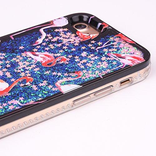 """iPhone 7 Handyhülle, iPhone 7 TPU Softcase, CLTPY Kreativ 3D Dynamisch Treibsand Glanz Fließen Flüssig Schwimmend Herz Stern Shale Etui, Schwarz Stoßfest Silikon Rückseite Hülle für 4.7"""" Apple iPhone  Rote Flamingos"""
