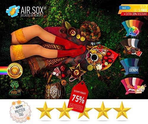 NEU75-PaarGRATISVersand-AirSox-DeluxeBOX-MadeinEU-Herrensocken-Damensocken-100-Organisch-Damit-Deine-Fe-ATMEN-Sneaker-Socken-Sportsocken-Business-Schwarz-Bunt-Blau