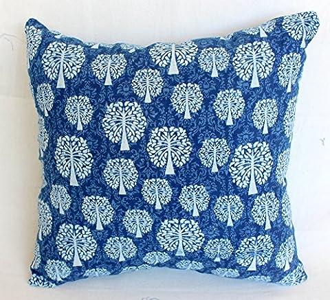 traditionnel Jaipur Indigo Housse de coussin 16x 16, Block Tissu imprimé indien Taie d'oreiller décoratifs, couvre-lit, faite à la main Coussin d'extérieur, Boho Taie d'oreiller Sham