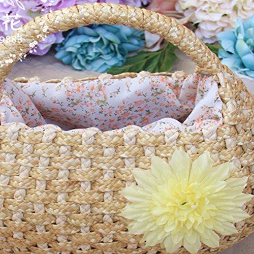 Frauen Stroh Schultertaschen Drei Braids Weizen Stroh Handtasche Blumen Gras Stroh Tasche Beige