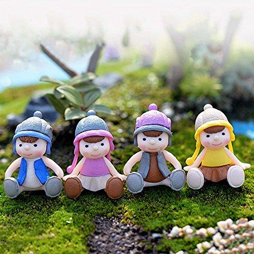 Décoration Miniature Ornement Accessoire DIY Cartoon Mignon Fille Assis avec Chapeau pour Décor Micro-paysage de Jardin