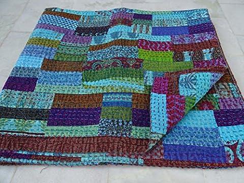 Tribal Textiles asiatiques Multi Color Block imprimé patchwork Reine Taille Housse Couette Lit Couverture, X, X, X King Size Couvre-lit, Bohemian Parure de lit Multicolore Taille 228,6x 274,3cm 1111