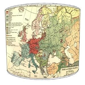 Premier Lampshades–Tabla Europa Lingüística Mapa Tambor Lamp Shades
