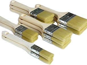 ROTIX Lackierpinsel-Set 12-teilig | Flachpinsel für Lasur, Acrylfarben und Wasserlacke| 12 Stück Lasurpinsel | Pinselset