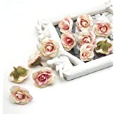 SATYAM KRAFT 4 cm Artificial Small Rose Flowers for Home Decoration and Craft (Peach, 12 Pieces)