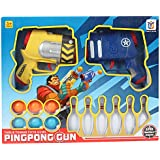 Planet of Toys Ping Pong Balls Shooting Guns - 2 Gun/6 Balls/6 Bowlings for Kids/Children