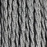 Fil électrique tissu lin gris - câble textile torsadé 2 fils 2x0.75mm2