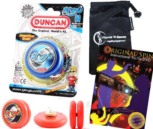 Duncan ProYo YoYo (Blau) Ideal Yo Yo für Anfänger + 75 Yo-Yo Tricks DVD in Englisch + Stoff Reisetasche! Große YoYo für Kinder und Erwachsene! (Yo Yo Proyo Duncan)