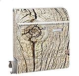 KlebeSpatz® Motiv Briefkasten Maxi mit Zeitungsfach Zeitungsrolle für A4 Post slk shop Groß Holz alt
