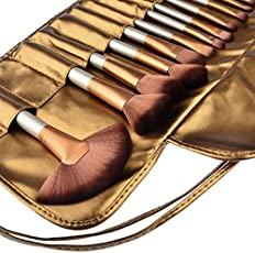Tribecca 24pcs Makeup Brush Set, 24 Professional Makeup Brushes Kit Golden Beige Wooden Handle With Leather Pouch