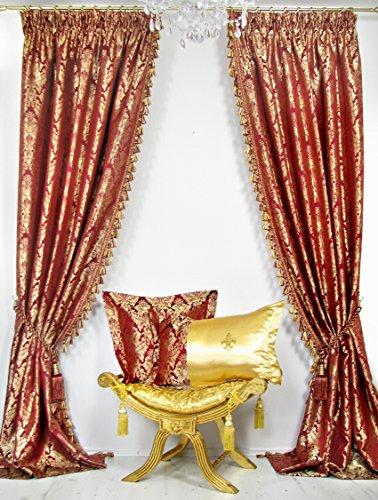2er-Set Vorhänge Kollektion *PalazzoRG* mit Quastenborte je 140 x 245 cm, Weinrot/Gold,...
