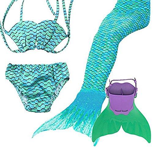 Mädchen Meerjungfrauen Bikini Kostüm Meerjungfrau Schwimmanzug Tankini niedlich Muschelbikini mit Schwanzflosse