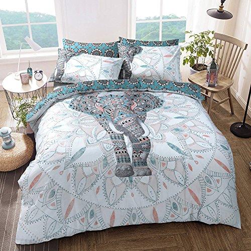 AMELIA TEXTILES Bettwäsche-Set, Elefant, Mandala, Bettbezug für Einzel-, Doppel- und King-Size-Bett, mit Kissenbezug, Mandala, King Size