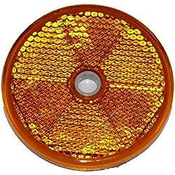 10x Reflektor Rund 60mm GELB E-Prüfzeichen für Anhänger Pritsche links rechts Katzenauge orange