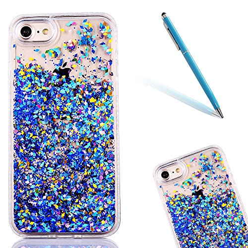 "iPhone 6s Hülle, iPhone 6 Handytasche, CLTPY 3D Dynamisch Treibsand Flüssige Fließend Glitzer Sparkle Diamant Hartplastik & Soft TPU Hybrid Transparent Schale Case für 4.7"" Apple iPhone 6/6s + 1 x Gri Blau"