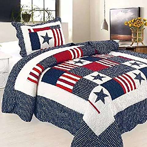 Beddingleer Childrens Boys COTTON 150 X 200CM Single Quilted Bedspread Patchwork Throws, Light Weight Four