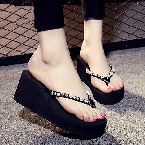 Pente avec sandales à talons hauts à bascule --- 7cm Chaussons de mode d'été simples Simple étudiant Chaussons plats antidérapants Chaussons de plage avec 9 couleurs --- Herringbone fashion sweet Sand # 9