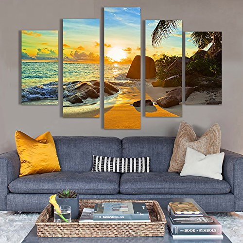 mmwin HD Gedruckt Poster Modulare Leinwand Bilder 5 Stücke Riff Stein Strand Kokospalmen Sonnenaufgang Seascape s Wohnkultur Wandkunst