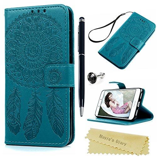 Funda Huawei P8 Lite 2017 Libro de Suave Cuero Impresión PU Premium - Mavis's Diary Carcasa Con TPU Silicona Case Interna Suave,Soporte Plegable,Ranuras para Tarjetas y Billetera,Cierre Magnético - Diseño de atrapasueños, azul
