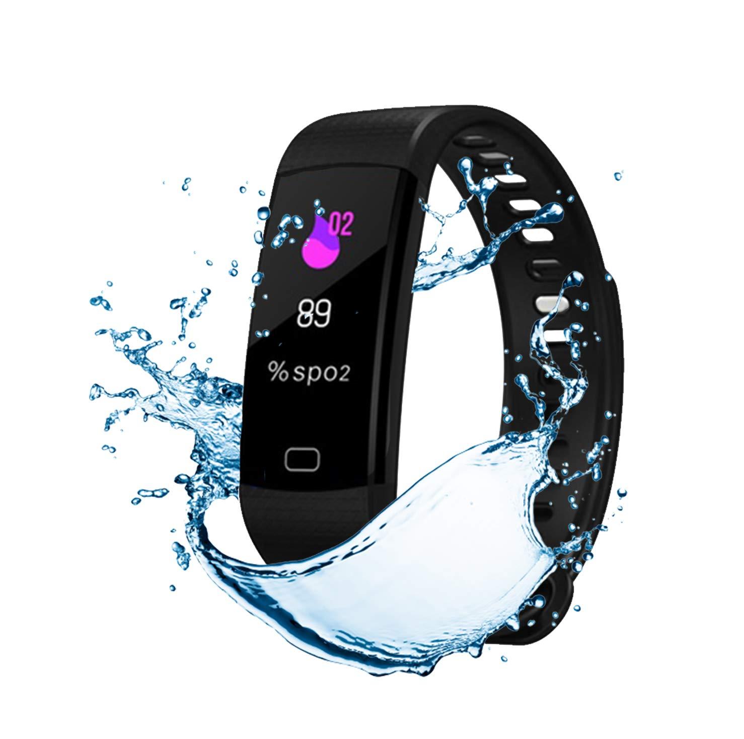 Pulsera de Actividad Inteligente FitBand cRadia con pantalla táctil, pulsómetro láser, monitor de Frecuencia Cardíaca HR, Podómetro, resistente al agua con protección IP67, contador de pasos y monitor de Sueño para Android y iPhone 8
