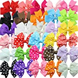 30pcs/lot boutique kids bow polka dot hair bow for baby girls kids hair pin clips baby accessories