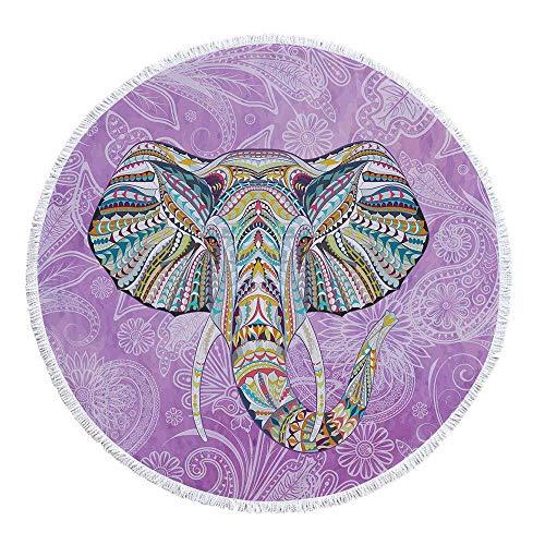 ZHANGDAN Dickes rundes Badetuch, Elefanten-Stranddecke, Strand-Roundie-Mikrofaser-Kreis-Yoga-Matten-Tischdecken-Picknick-Matten, Strandteppich Bohemian Elephant, 59 Zoll,8