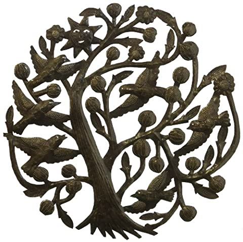 Le Primitif Galleries Haitian Recycled Steel Oil Drum Outdoor Decor, Tree and Sun
