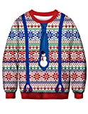 Siennaa Pull Noël Homme Moche Imprimé Imitation Drôle Unisexe Femme Garçons Sweat-Shirt Col Rond Pull Homme Manches Longues Décontracté Sportif Sweat Shirt T Shirt (BFT034, XL)