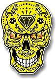 Gótico amarillo mexicano Azúcar diseño de calavera con Evil ojos novedad vinilo adhesivo coche 100x 70mm