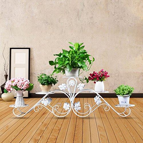 Yota home flower stand fioriera in ferro battuto balcone multi-pavimento da terra pavimento moderno soggiorno verde vasi di fioriera (colore : bianca)
