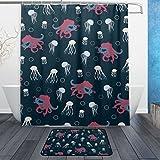 JSTEL Octopus jelly-fish-Badezimmer-Duschvorhang, wasserdicht, für den täglichen Gebrauch, 60x 60cm, maschinenwaschbar, 12Haken, Anti-Rutsch-Teppich-Set