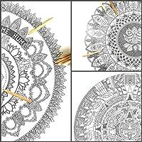 Mandalas GIGANTES para Colorear de PAINT&RELAX. Incluye 3 Láminas en el Paquete: Mandala Buda + Mandala Flor de Loto + Mandala Piedra del Sol. Blanco y Negro. Cada Lámina mide 50 X 70 centímetros.
