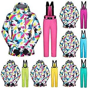 MUTUXUE Damen Skianzüge 2Tlg Skijacke Hoch Winddicht wasserdichte Technologie Schneejacke Und Hose Kälteschutz Warmhalten Bergsteigeranzug